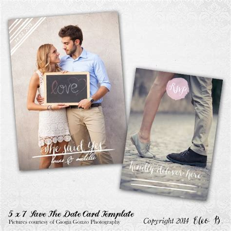 5x7 Save The Date Template Photoshop Template Std005 Instant Download Shop At Etsy Com Save The Date Templates Photoshop