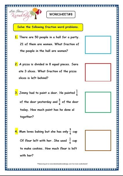 5th grade 187 fraction word problems 5th grade worksheets