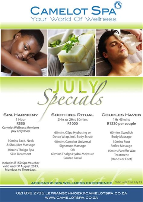 spa specials win with camelot spa le franschhoek hotel 2oceansvibe