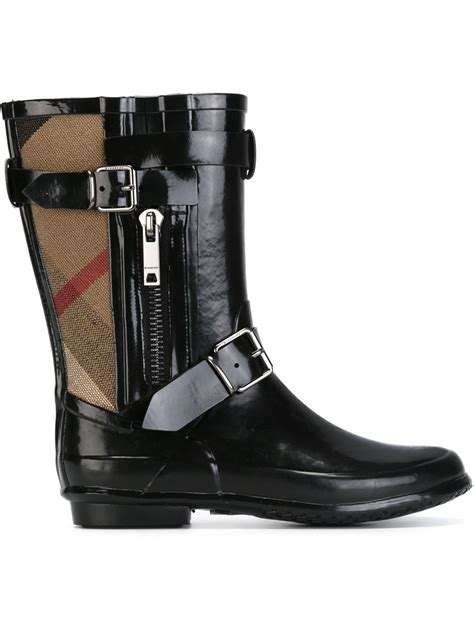 burberry boots burberry claredon house check panel boots in black lyst