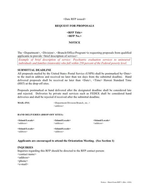 Short Form Rfp Template 1 Rev 4 06 Limited Notice To Proceed Template