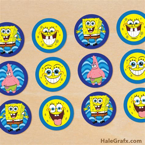 printable spongebob birthday decorations free printable spongebob squarepants cupcake toppers