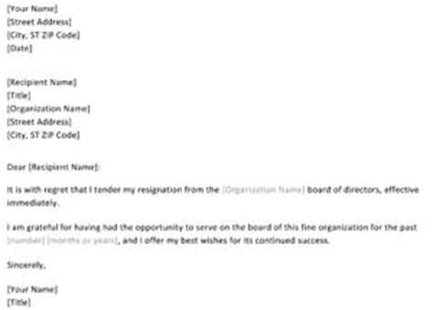 Pta Board Resignation Letter Resignation From Board Letter Small Business Free Forms