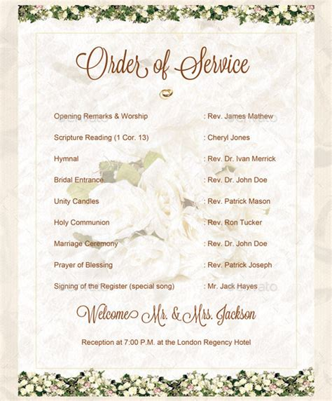 wedding order of service cards template wedding order template 38 free word pdf psd vector