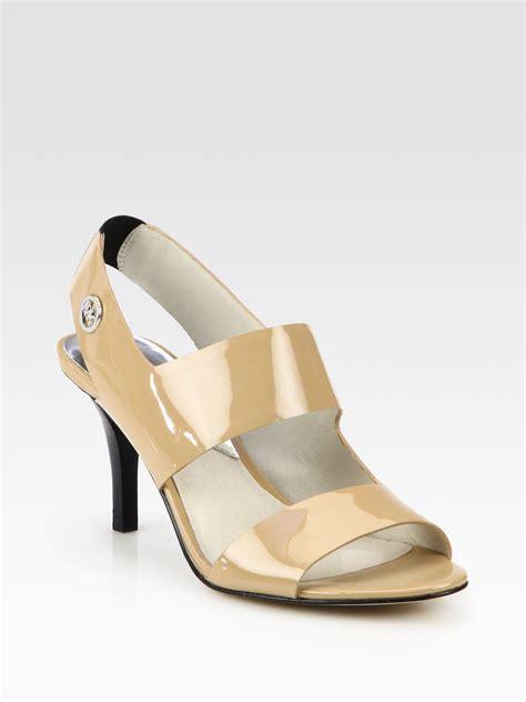 michael kors patent leather sandals lyst michael michael kors rochelle patent leather