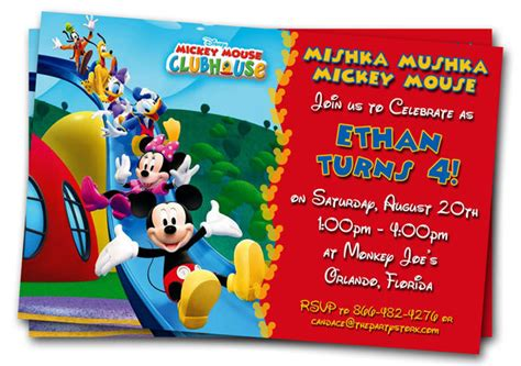 mickey mouse clubhouse 7x5 in birthday party invitation with photo
