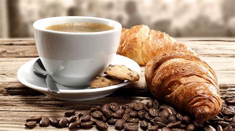 coffee breakfast wallpaper breakfast croissant coffee cup coffee beans wallpaper