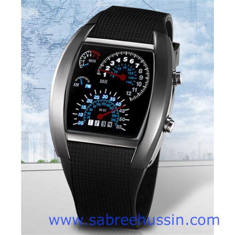 Jam Tangan Led Original Tvg Speedometer Rpm Turbo Warna Silver Black Dengan Led Biru jam tangan flash rpm speedometer