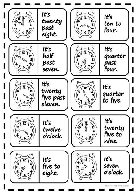 printable clock dominoes what 180 s the time dominoes worksheet free esl printable