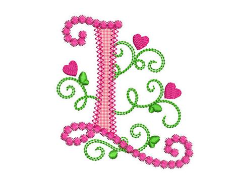 design art l cute letter l alphabet for lil princess hearts applique