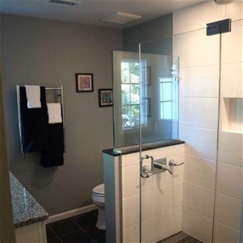 Ideas For Bathrooms toilet beside shower half wall bathroom pinterest