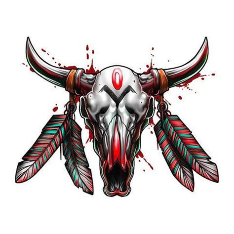 fantastic amazing bull skull tattoo great colored indian decorated bloody bull skull