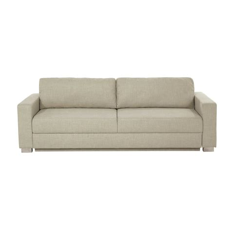 urban sofa bed 3 seater fabric sofa bed in beige urban maisons du monde