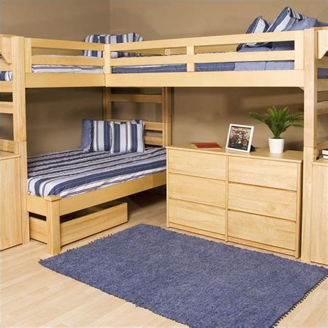 bedroom creative triple bunk bed designs with nice drawers with wooden style impressive bunk