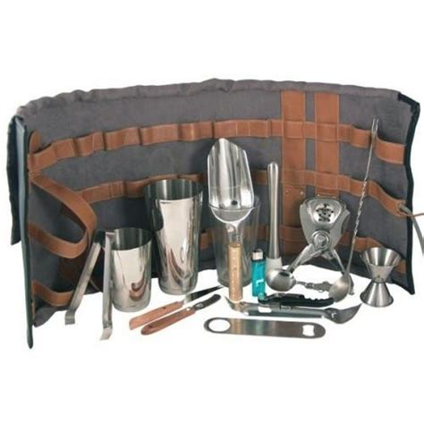 Home Bar Kit Leather Bar Roll Kit 16 Pieces Tcb