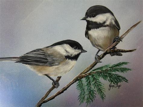 two chickadees painting by joyce lapp