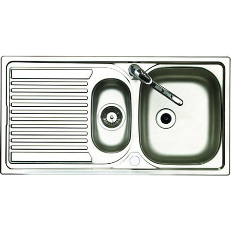 kitchen bowl sink wickes 1 1 2 bowl reversible kitchen sink with tap