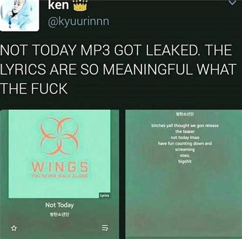 bts not today lyrics bts not today lyrics got leaked k pop amino