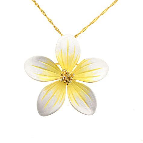 yellow hawaiian plumeria pin swarovski flower pin