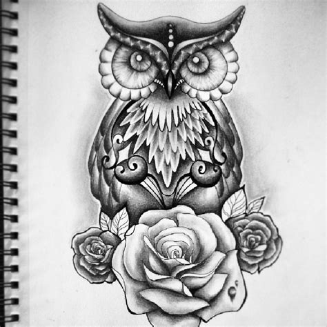rose and owl tattoo drawing owl roses by jess ouimet whi