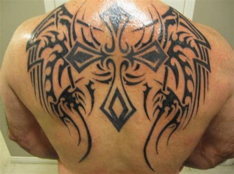 tribal wings back tattoo dashing back tribal cross tattoos pictures fashion gallery