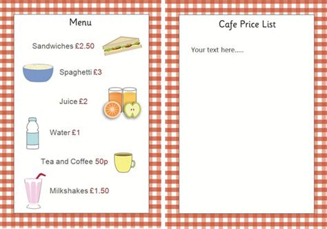 editable cafe price list menu early years role play