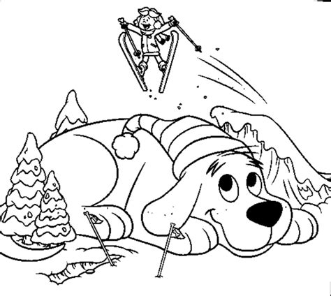 snow coloring pages dog and kid in winter grig3 org free winter sliding coloring pages