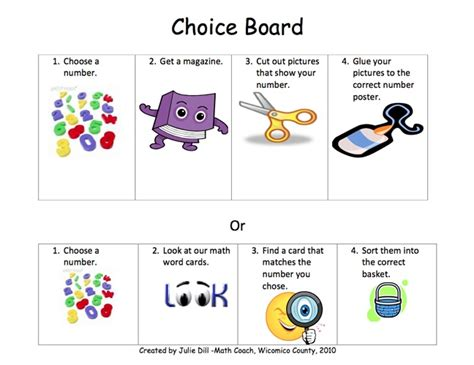 here s a number sense choice board for kindergarten