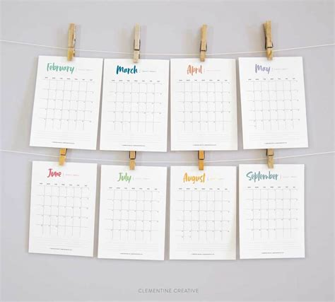 minimal printable  calendar clementine creative