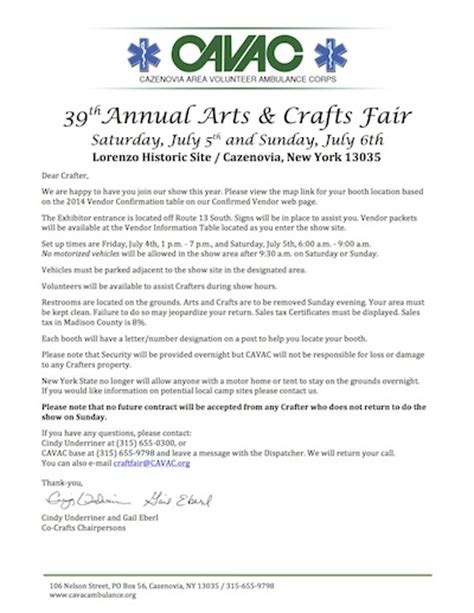 Confirmation Letter To Vendors Cavac Craft Fair Vendor Confirmation Page 2017