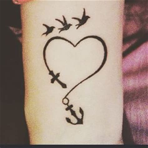 cross heart anchor tattoo anchor with birds search