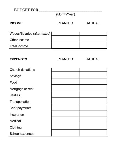 Family Budget Template Printable by Printable Monthly Budget Template 11 Free Excel Pdf