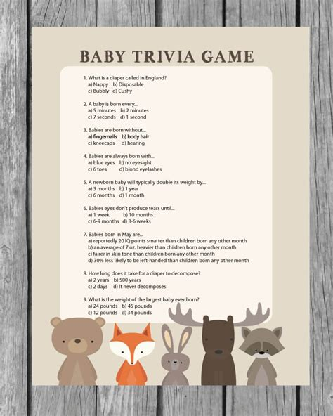 Baby Shower Trivia by Printable Baby Shower Trivia Woodland Animal Theme