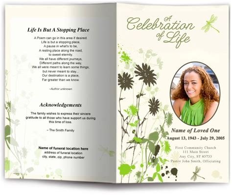 Dragonfly Funeral Program Template Dragonfly Design Memorial Service Programs Dragonfly Funeral Bulletin Template