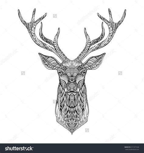 tribal pattern deer deer head stylized in zentangle style tribal tattoo