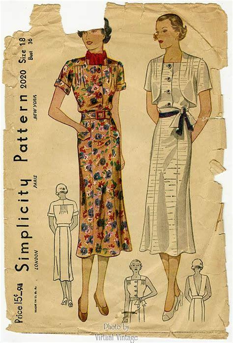 dress pattern v back simplicity 2020 1930s dress pattern with bolero jacket