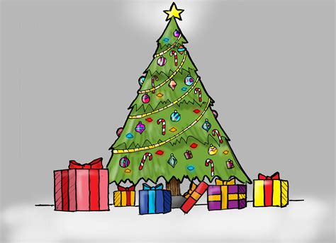 christmas tree drawing how to draw a christmas tree with presents for kids