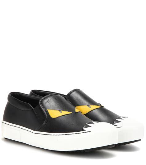 fendi sneaker fendi leather slip on sneakers in black lyst