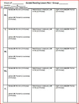 Reading Planning Template by Guided Reading Lesson Plan Template 5 Days By Brittni
