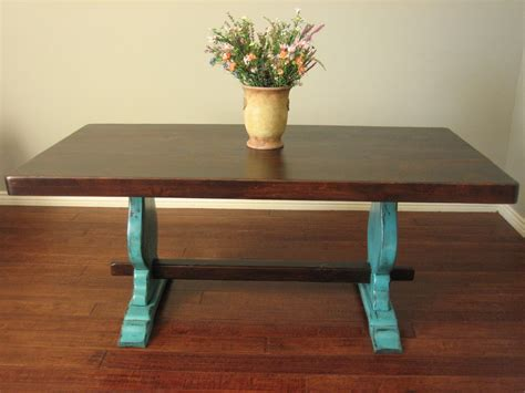 teal kitchen table european paint finishes rustic turquoise trestle table