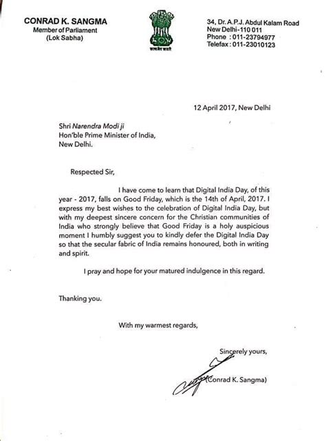 exle of formal letter to prime minister npp president conrad sangma urges modi to move digital