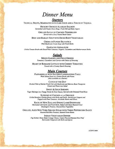 dinner menu carnival cruises dinner menu 1 carnival cruise ship