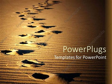 Powerpoint Template Footprints On Desert Sand Showing Direction Of Movement 12879 Desert Powerpoint Background