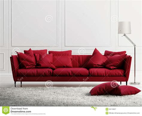 Red Leather Sofa In Classic White Style Interior Stock