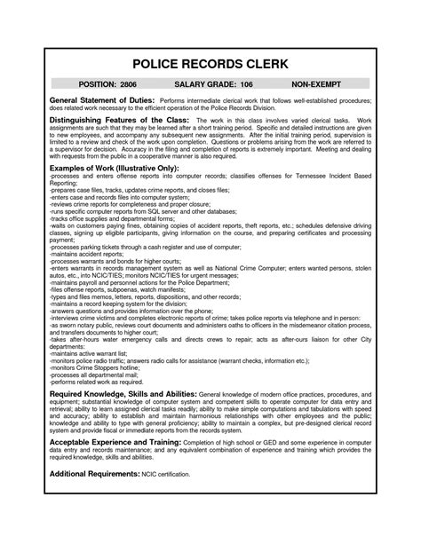 records clerk cover letter resume sles records clerk