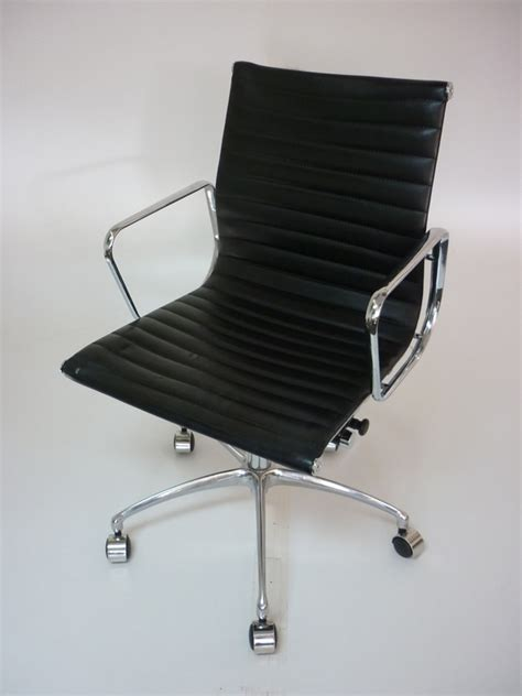 replica vitra eames black leather swivel chair 2nd
