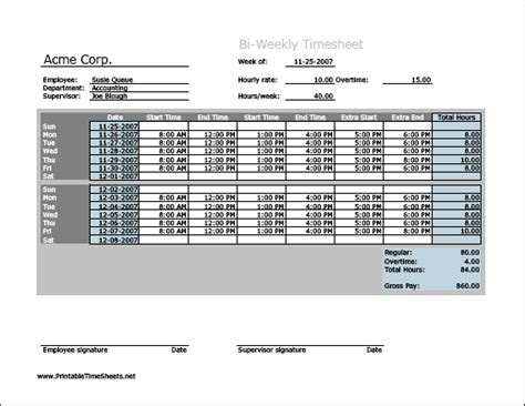 biweekly paid lunch printable time sheet biweekly timesheet horizontal orientation with overtime