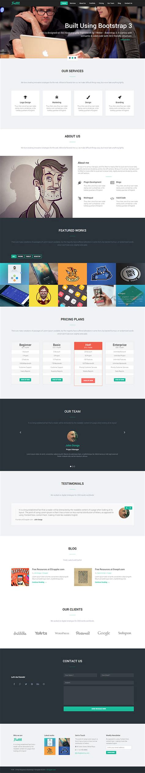 responsive one page template free free responsive single page bs3 template frittt egrappler
