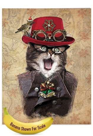 steampunk cats creative christmas large greeting card