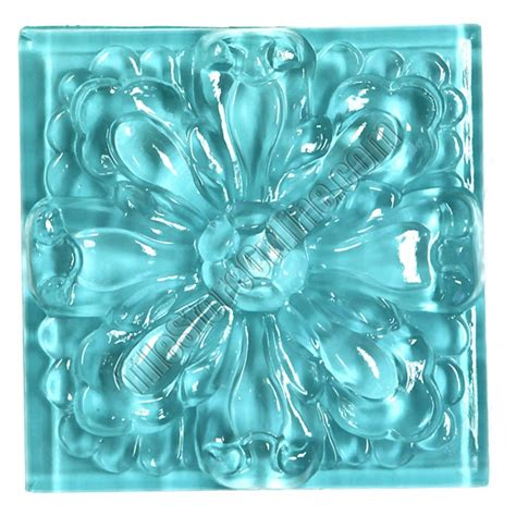 glass tile relief deco 4 x 4 large glass flower deco 4x4 decorative glass insert blue glossy
